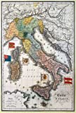 EuroGraphics Antique Map of Italy Vintage Art Reproduction Print Poster (19 1/4 x 27 3/4