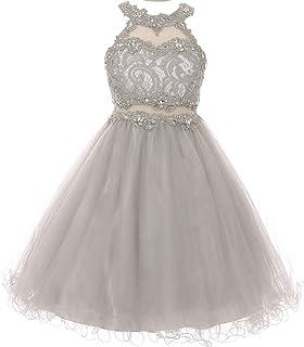 877a5078448 Sparkle Rhinestones Halter Lace Junior Bridesmaid Pageant Flower Girl Dress  4-20