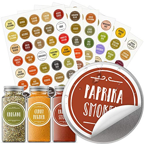 "Vinta 200+ Color-Coded Spice Jar Labels, Stickers for Spice Bottles, Preprinted Waterproof Oil-Resistant Round 1.5"" + Extra Write-on Labels; Kitchen Organization; Housewarming Gift (English Edition)"