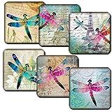 Dragonflies Set of 6 Coasters Coffee Tea Wine Gift