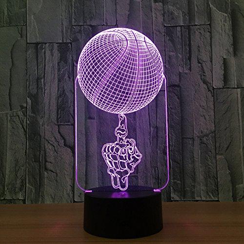 3D nachtlampje illusie lamp LED kinderen schedbasketbal licht sfeerverlichting afstandsbediening bedlampje 7 kleuren wisselende afstandsbediening bureau lampen verjaardagscadeau