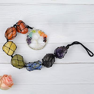 Reiki Crystal Products Natural 7 Chakra Tumble Stone Hanging with Tree of Life for Car Hanging and Door Hanging Reiki Healing and Crystal Healing Stones Size 11 Inch Apporx (Color : Multi)