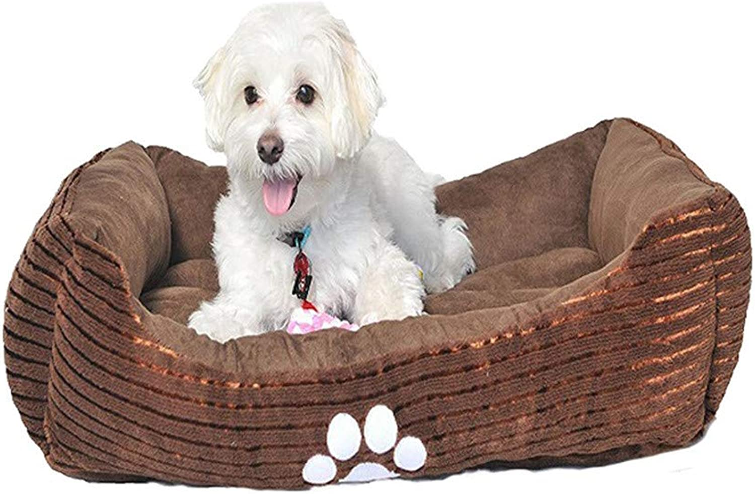 65  50  16CM Reversible Rectangle Pet Bed with Dog Paw Printing (Coffee)