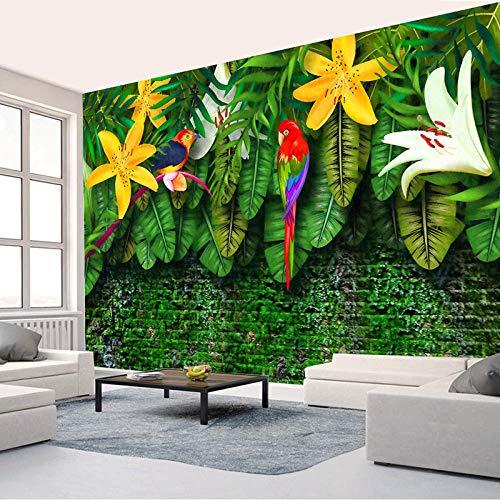 zhanghomey Fototapete 3D Handgemalt Pastoral Tropischer Regenwald Im Europäischen Stil Südostasien Bananenblätter Wandbild-250X175Cm