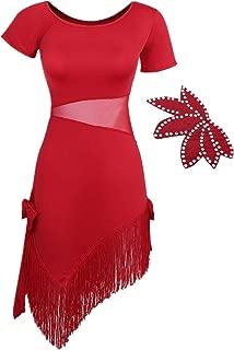 FEESHOW Women's Fringe Latin Tango Cha Cha Samba Rumba Salsa Dance Dress Ballroom Costumes