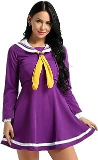 dPois Womens Japanese School Girls Uniform No Game No Life Shiro Sailor Cosplay Costume Mini Pleated Skirt Dress Set