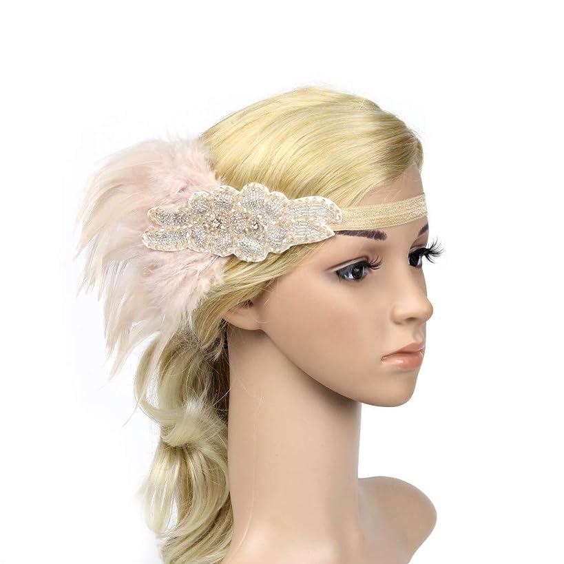 Hair Band, Dingji Headpiece Flapper Headband Headdress Feather Garland Party Wedding Girls Headband (Pink)