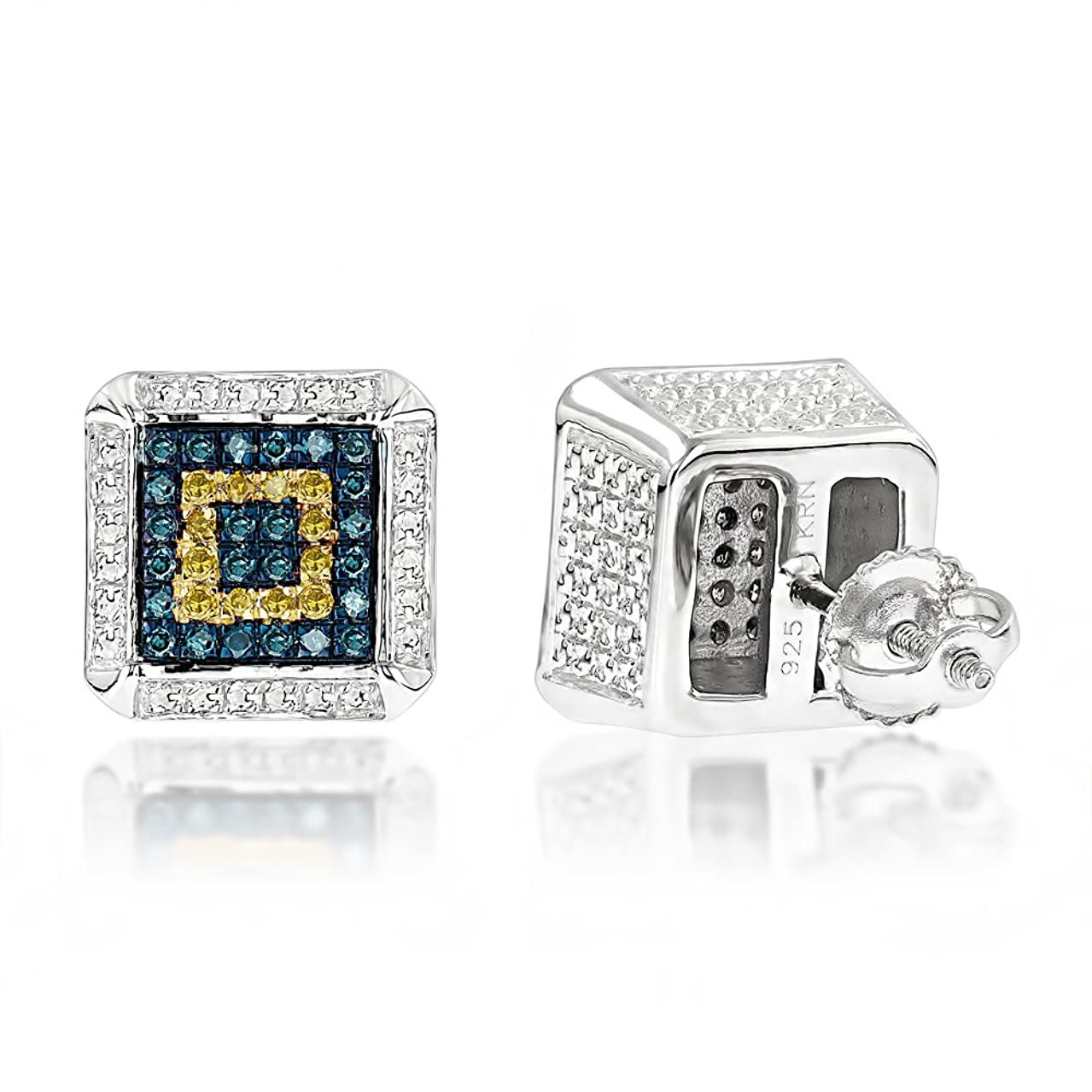 Sterling Silver Square Design Blue Yellow Natural 0.3 Ctw Diamonds Earring Studs For Her