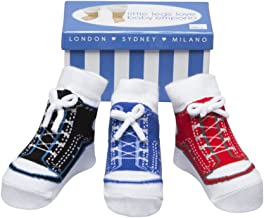 Baby Emporio-3 Pr-Baby Boy Socks that look like Shoes-Anti-slip-Cotton-Gift Box, 0-9 Months