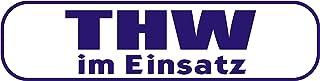 INDIGOS UG   Magnetschild THW im Einsatz 30 x 8 cm   Magnetfolie für Auto/LKW/Truck/Baustelle/Firma