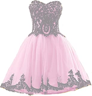 Short Tulle Vintage Black Lace Gothic Prom Homecoming Cocktail Party Dresses