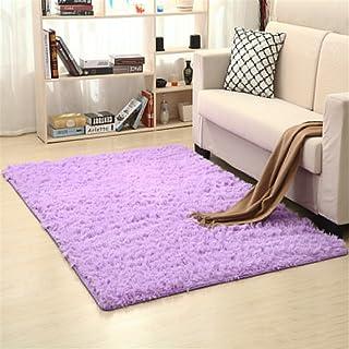 Ommda jednolity kolor zmywalne kudłaty dywany dywan maty antypoślizgowe do salonu i sypialni fioletowy 80 x 200 cm