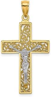 Lex & Lu 14k Two-Tone Gold Crucifix Pendant LALK9675