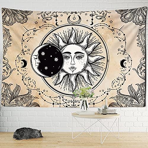 KHKJ Sol Luna Tarot Tapiz Colgante de Pared adivinación brujería Colcha de Playa Estera Bohemia Hippie Mandela decoración Familiar A5 200x180cm