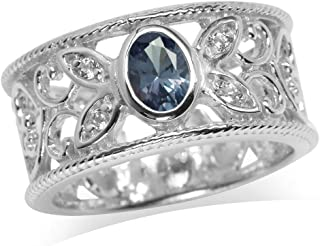 Silvershake Simulated Color Change Alexandrite and White Cubic Zirconia 925 Sterling Silver Filigree Band Ring