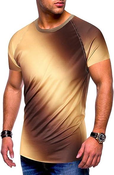 Camiseta de manga corta con estampado degradado para hombre ...