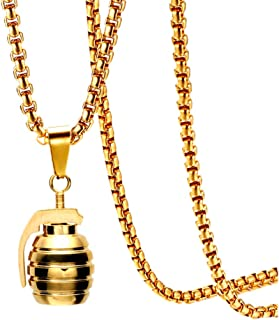 Hip Hop Stainless Steel Grenade Pendant Charm Necklace with 22