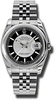 Rolex Oyster Perpetual Datejust 36mm Stainless Steel Case, Domed Bezel, Silver And Black Dial, Index Hour Markers And Jubilee Bracelet.
