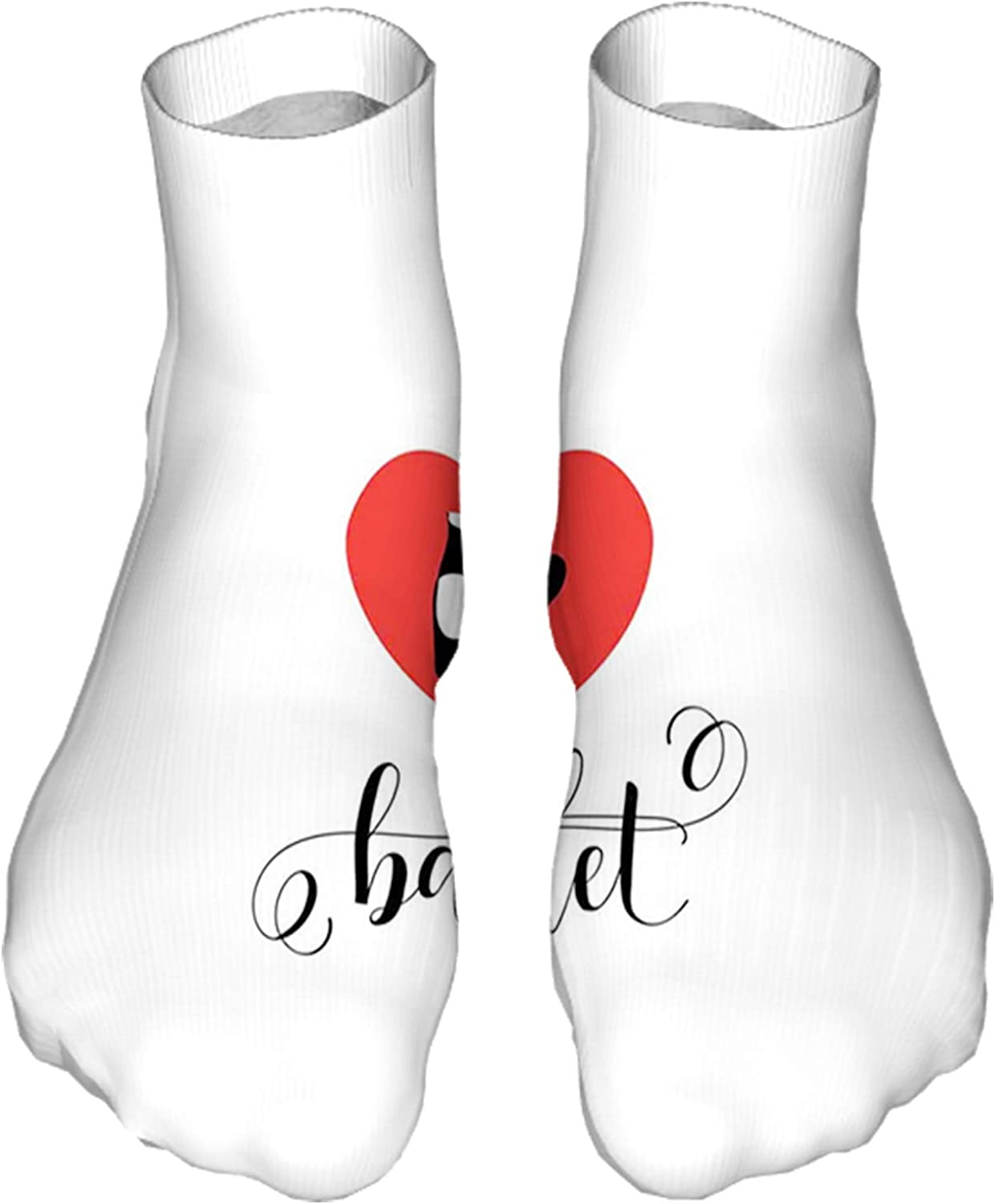 Women's Colorful Patterned Unisex Low Cut/No Show Socks,I Love Ballet Phrase with Ballerina Feet Inside a Heart
