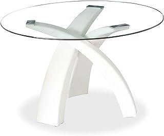 Mobilier Deco Table À Manger Ronde en Verre avec Piétement Blanc Wendy