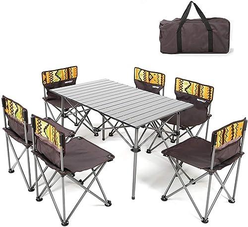 LQQFF Sac de Transport portatif pour Table Pliante Picnic Table Pliante et 6 chaises réglables Portable Pique-Nique extérieur Jardin à Manger Camping Table de Camping