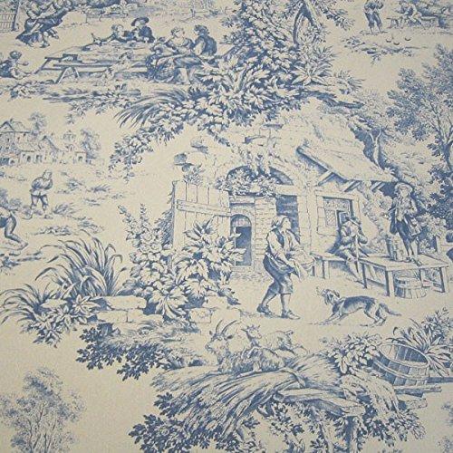 Stoff Baumwolle Rips Toile de Jouy Dorfcharakter beige blau Dorf