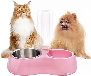 YINGYUペットボウル 小型 中型 犬 猫用食器 ウォーター フード ボウル ステンレス製 ペットカトラリーセット自動給水装置セット ご飯 水 お餌 入れ 食器 滑り止め付き (ピンク)