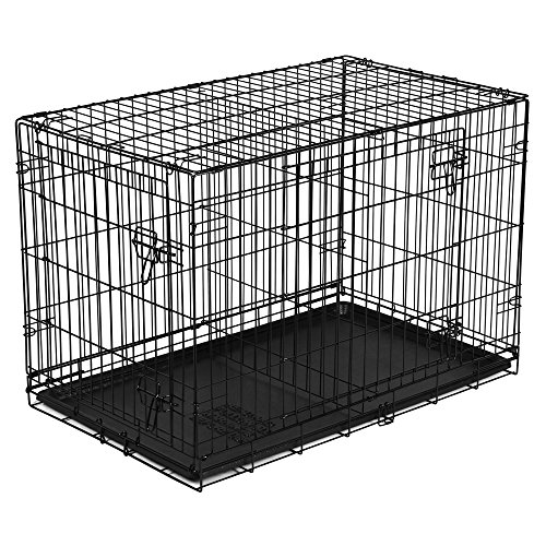 New Vibrant-Life Double-Door Folding Wire Dog Crate with Divider, 36' L