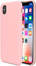 iPhone X Case, iPhone 10, Slim Soft TPU Silicone Back Flexible Rubber Bumper Protector Cover Case for iPhone X - Pink Free Tempered Glass Screen Protector Included!