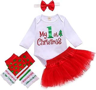 Carolilly, My 1st Christmas - Pelele de manga larga con letras + falda roja + calcetines con rayas + cinta para la cabeza con lazo dulce