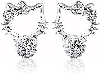 Adorable Woman Sterling Silver Novelty Cute Hello Kitty Crystal Eardrop Stub Earrings For Girl Women Lady