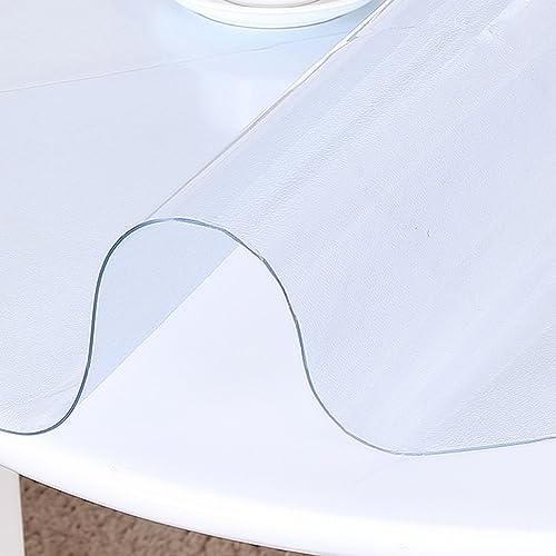 Küchenwäsche Muster runde Tischdecke, PVC Weißhes Glas runde Tischdecke wasserdichte Tischdecke Tischdecke rutschfeste Kristallplatte ( Farbe   Transparent 2.0mm , Größe   Round 120cm )