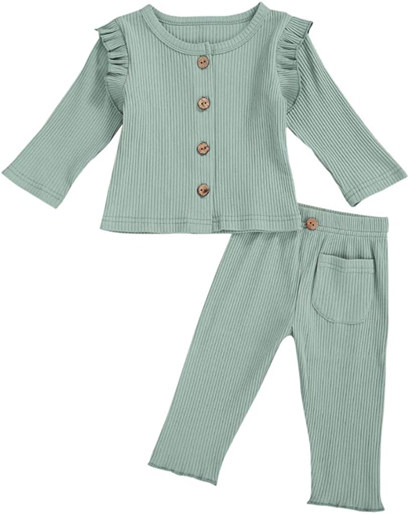 Newborn Baby Boy Girl Pant Sets Ribbed Cotton Knitted Long Sleeve Top+Pit Long Pant Summer Autumn 2Pcs Outfit