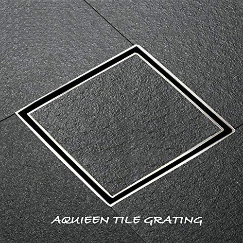 Aquieen Stainless Steel SS 304 Tile/Marble Insert Bathroom Floor Water Drain Grating with Anti-foul Cockroach Trap (6