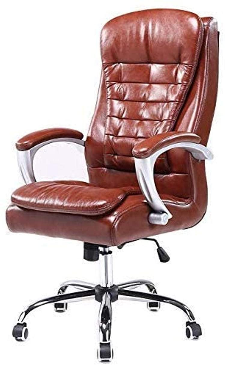 いらいらするきょうだい練るエグゼクティブチェアレザーオフィスチェア - 太いパディングコンピュータチェアアルミ合金チェアフット付きハイバック ひざまずく椅子