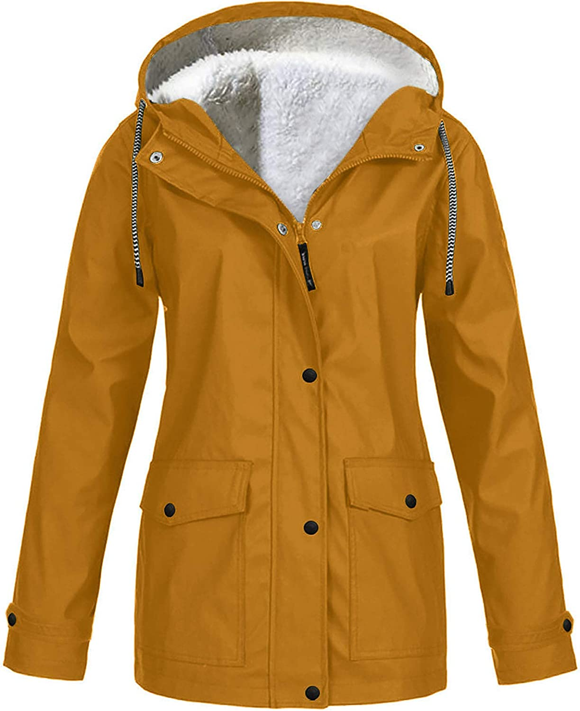 HGWXX7 Womens Rain Coats Hoodies Fleece Lined Rain Jacket Casual Plus Size Full Zip Up Pocket Waterproof Raincoat Khaki