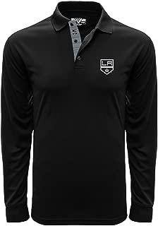 Levelwear LEY9R NHL Los Angeles Kings Adult Men Annex Icon Heather Long Sleeve Polo, Medium, Black