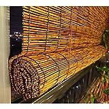 TMPP Estores Bambu Enrollables Exterior Estores Basic Natural Enrollable, Bambú, Miel, Robusto Madera Calidad con Accesorios de Instalación, W×H-150x200cm/59x78.5 in, Personalizable