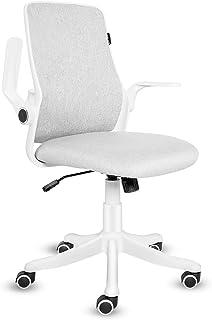 ELECWISH - Silla de oficina con reposabrazos abatible, silla ergonómica para ordenador con soporte lumbar ajustable, silla de escritorio, diseño compacto, bloqueo de 120°, rotación de 360°