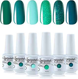 Vishine Gel Polish Set Green Teal Blue Glitter Colors 6pcs Soak Off UV LED Gel Nail Manicure Kit 8ML