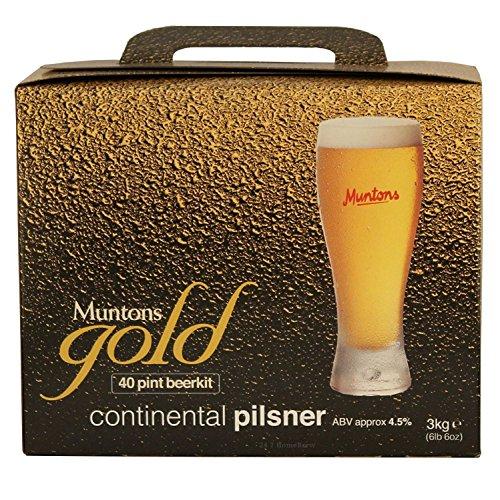 Muntons Gold Continental Pilsner Bierkit Braukit 3kg flüssiges gehopftes Malzextrakt für 23 Liter Bier
