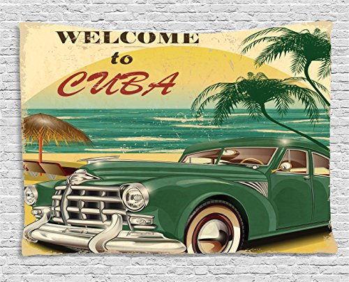 """Lunarable Cars Tapestry, Vintage Vehicle Parked by The Exotic Beach Havana Cuba Summer Vacation Road Trip Theme, Wide Wall Hanging for Bedroom Living Room Dorm, 80"""" X 60"""", Green Beige"""