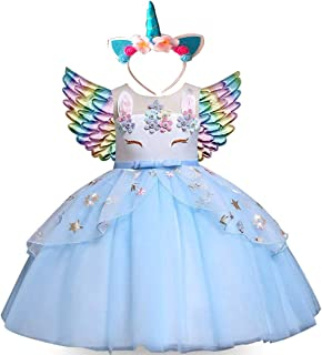 Moonman Girls Unicorn Costume Dress, Pageant Flower Princess Party Tutu Dresses Kit with Headband and Wings (Blue, 110)