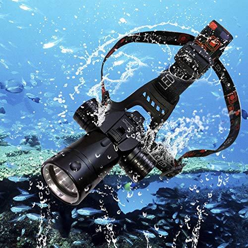 BIGMAC Linterna de Aluminio Recargable Impermeable para Buceo, natación, Senderismo, Camping, Caza, Pesca, Linterna Frontal submarina de 1800 lúmenes