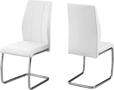 """Monarch Specialties 2 Piece DINING CHAIR-2PCS/ 39"""" H/WHITE LEATHER-LOOK/CHROME, 17.25"""" L x 20.25"""" D x 38.75"""" H"""