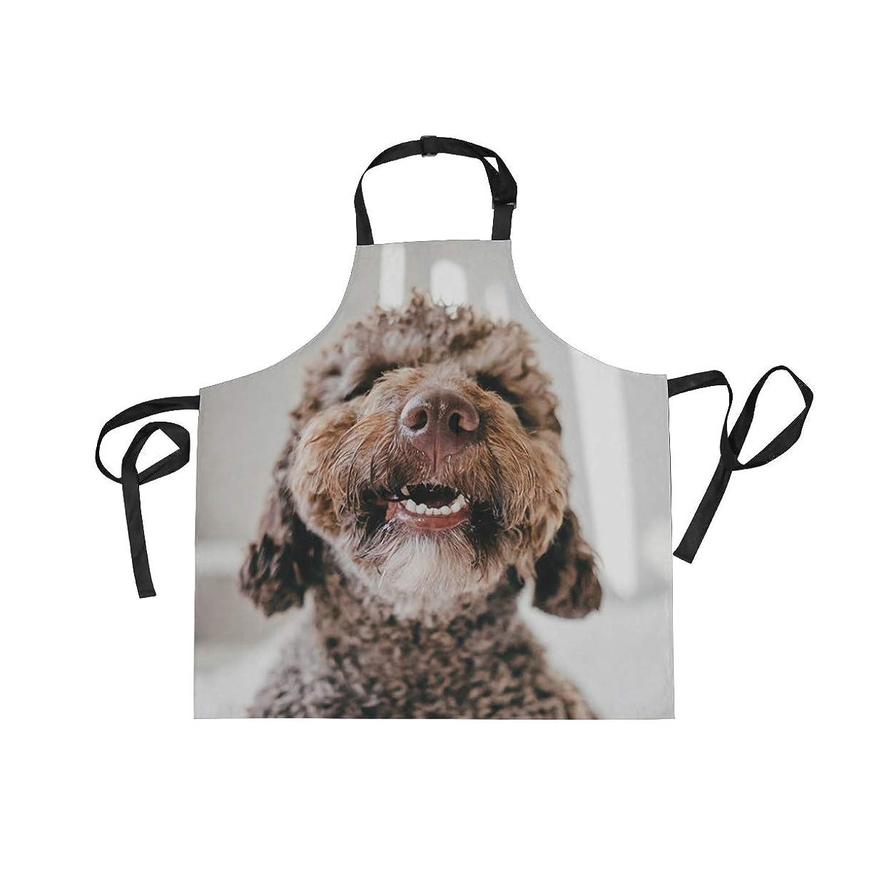アッパー愛人アラートエプロン カフェエプロン 茶色のスペインの水犬 首掛け 調節可能 撥水 防汚 飲食店 仕事用 家庭用 男女兼用
