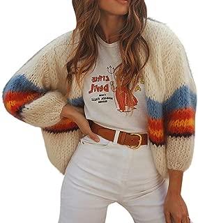 Loosebee◕‿◕ Women Fashion Casual Color Striped Long Sleeve Knit Sweater Cardigans Coat Long Sleeve Knit Sweaters Coat