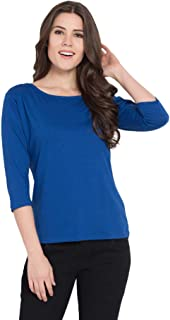 American-Elm Solid Cotton Slim Fit Three Fourth Sleeves T-Shirts for Women (ME-TF-WTS)