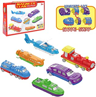 Liberty Imports Magnetic Play Vehicles Custom Mix Building Blocks Kit - DIY Build Your Own Dream Car - STEM Match Construction Toys for Kids (Set of 6)