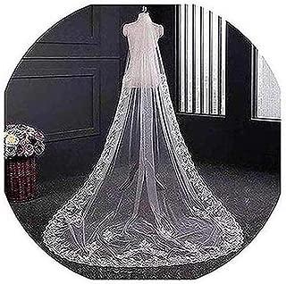 chapel length veil with lace applique